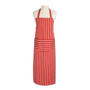 Butcher's Stripe Förkläde lång Röd