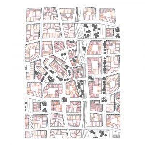 Born in Sweden – Sweden from Above Kökshandduk City 50×70 cm Rosa