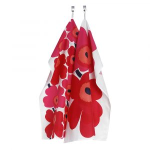 Marimekko – Unikko Handduk 47×70 cm 2-pack Röd/Rosa