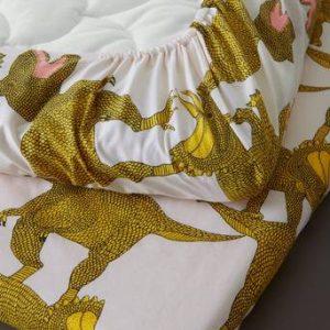 DINO dra-på-lakan spjälsäng – ekologisk Rosa/gul
