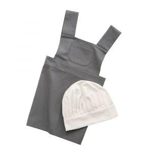 Förkläde + Kockmössa Elephant Grey