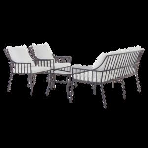 BOLONIA loungemöbel – 4 delar Marinblå/vit dyna