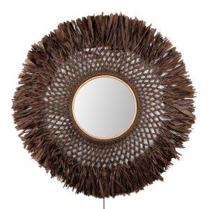 Boho vägglampa med spegel Ø90 cm Brun