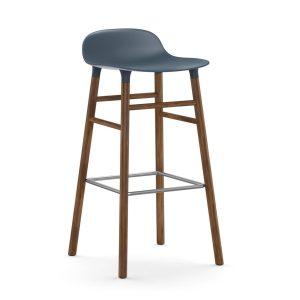 Form Chair barstol valnötsben blå