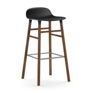Form barstol valnötsben 75 cm svart