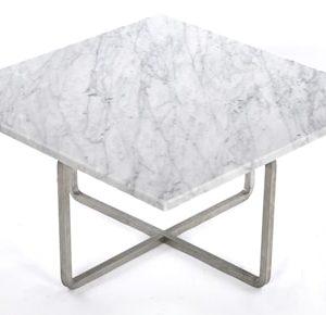 Ninety 60×60 soffbord – Carrara/stomme rostfritt stål