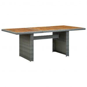 vidaXL Trädgårdsbord ljusgrå konstrotting och massivt akaciaträ