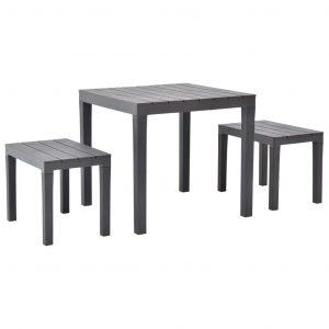 vidaXL Trädgårdsbord med 2 bänkar plast brun