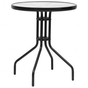 vidaXL Trädgårdsbord svart Ø60×70 cm stål