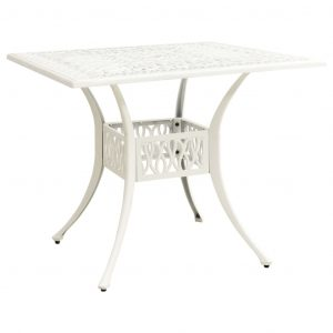 vidaXL Trädgårdsbord vit 90x90x73 cm gjuten aluminium
