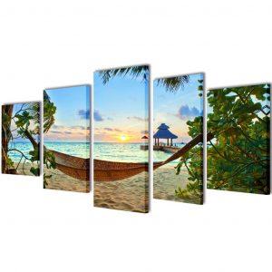 vidaXL Uppsättning väggbonader på duk: sandstrand med hängmatta 100 x 50 cm
